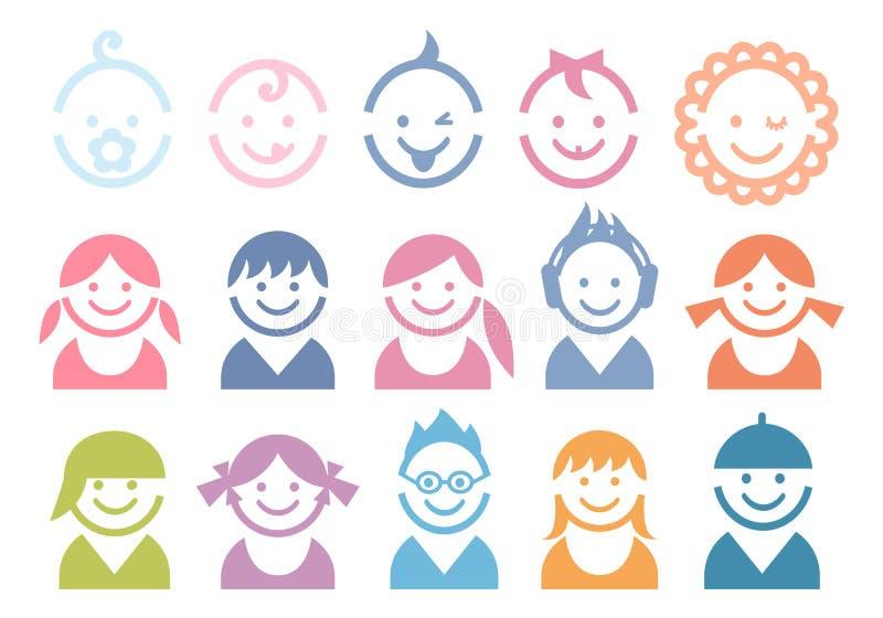 De gezichten van de baby en van kinderen vector illustratie