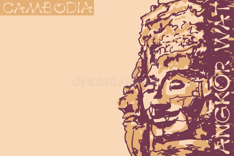 De gezichten van de Bayontempel bij Angkor-tempel kambodja Vector illustratie royalty-vrije illustratie
