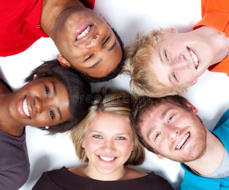 De gezichten van de close-up van Multi-racial studenten stock foto's