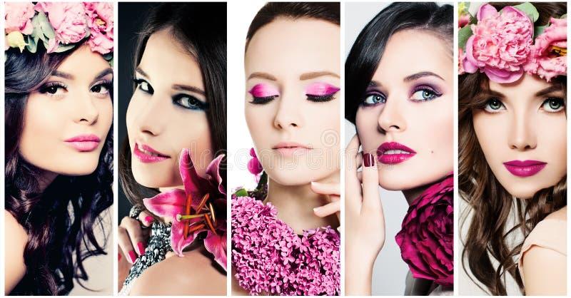 De Gezichten van de manierschoonheid Reeks vrouwen Purpere Kleurenmake-up stock afbeelding