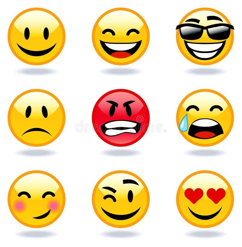 De gezichten van Emoticon stock illustratie