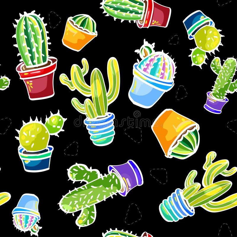 De gezichten van Londen met een rode cabine 34/5000 Na van patroons kaktusami chernom fone vormen met cactussen op een zwarte ach royalty-vrije stock afbeelding