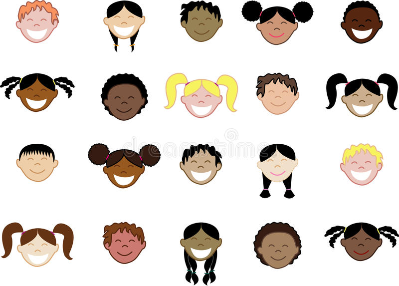 De gezichten van twintig verschillende kinderen. royalty-vrije illustratie