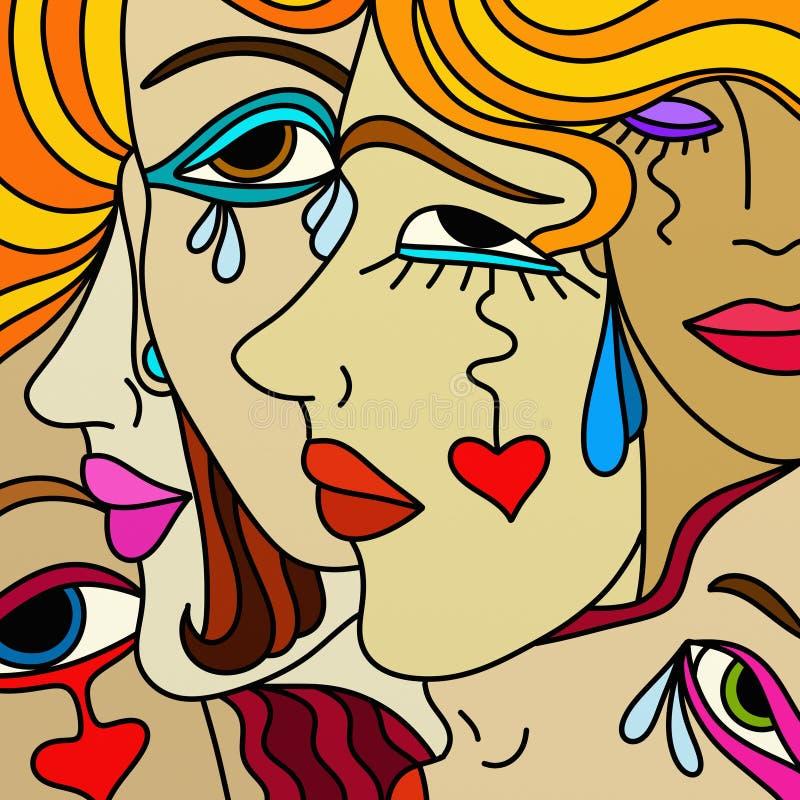 De gezichten van vrouwen stock illustratie