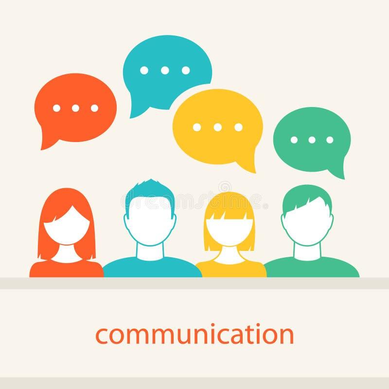 De Gezichtenpictogrammen van mensen Communicatie en Groepswerkconcept stock illustratie