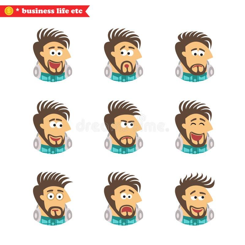 De gezichtsemoties van de softwareingenieur stock illustratie