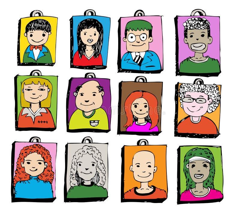 De gezichtsmensen schetsen Menigte van grappige volkeren royalty-vrije illustratie