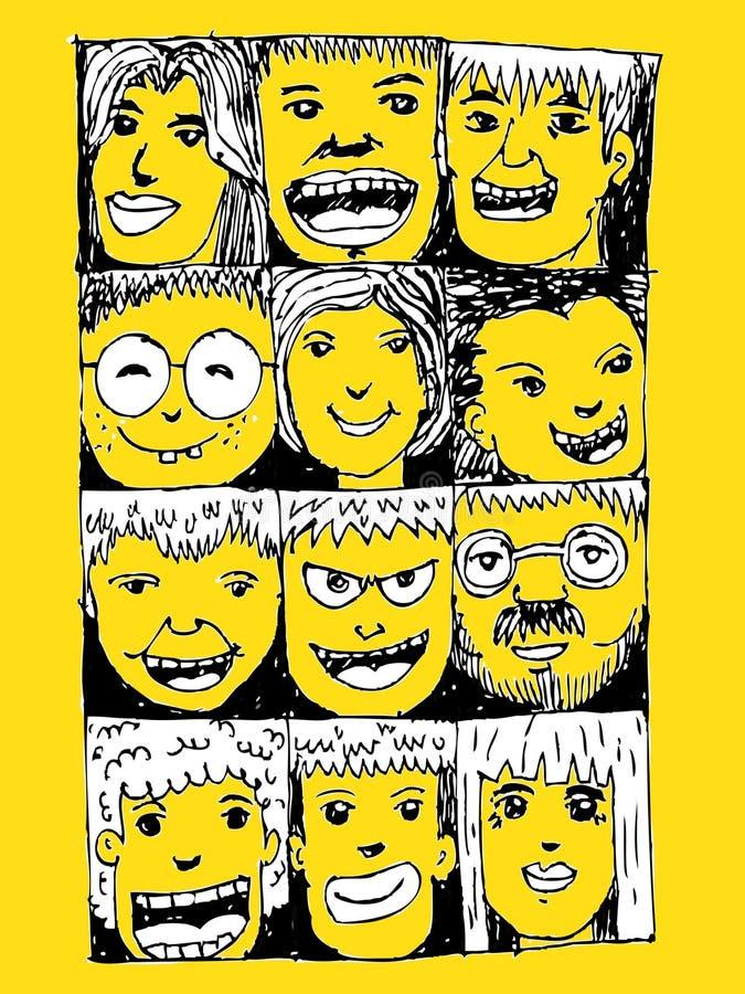De gezichtsmensen schetsen Menigte van grappige volkeren stock illustratie
