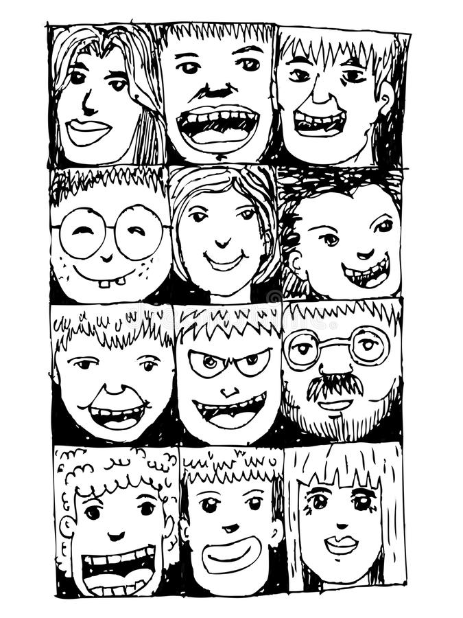 De gezichtsmensen schetsen Menigte van grappige volkeren vector illustratie