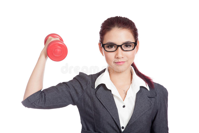 De gezonde Aziatische bedrijfsvrouw heft een domoor op stock foto