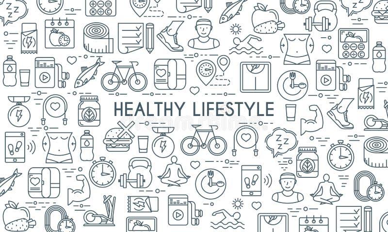De gezonde banner van de levensstijl dunne lijn stock illustratie