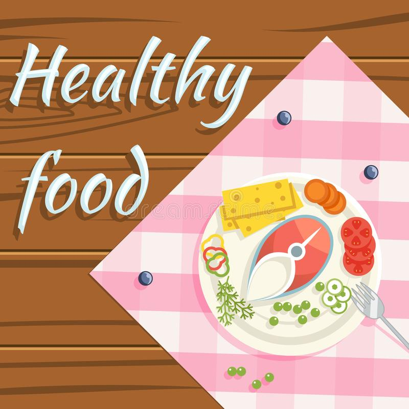 De gezonde groenten van voedsel flatlay gestoomde vissen plateren houten achtergrond vlakke ontwerp vectorillustratie vector illustratie