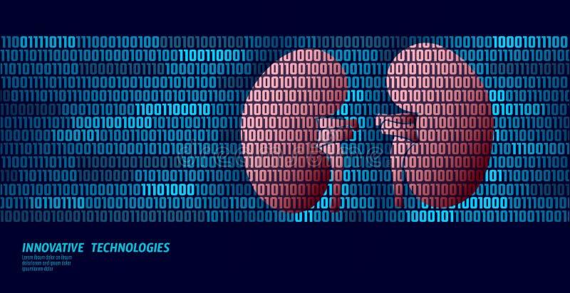 De gezonde interne organen van de nierenurologie De stroom van binaire codegegevens Vectorillustratie van de artsen de online inn vector illustratie