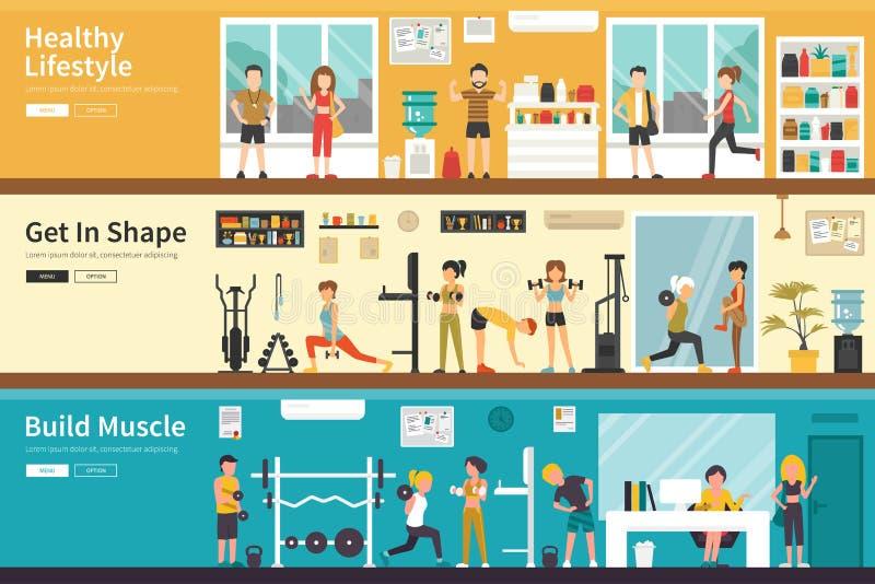 De gezonde Levensstijl krijgt in Vorm bouwt Web van het Spier het vlakke binnenlandse openluchtconcept stock illustratie