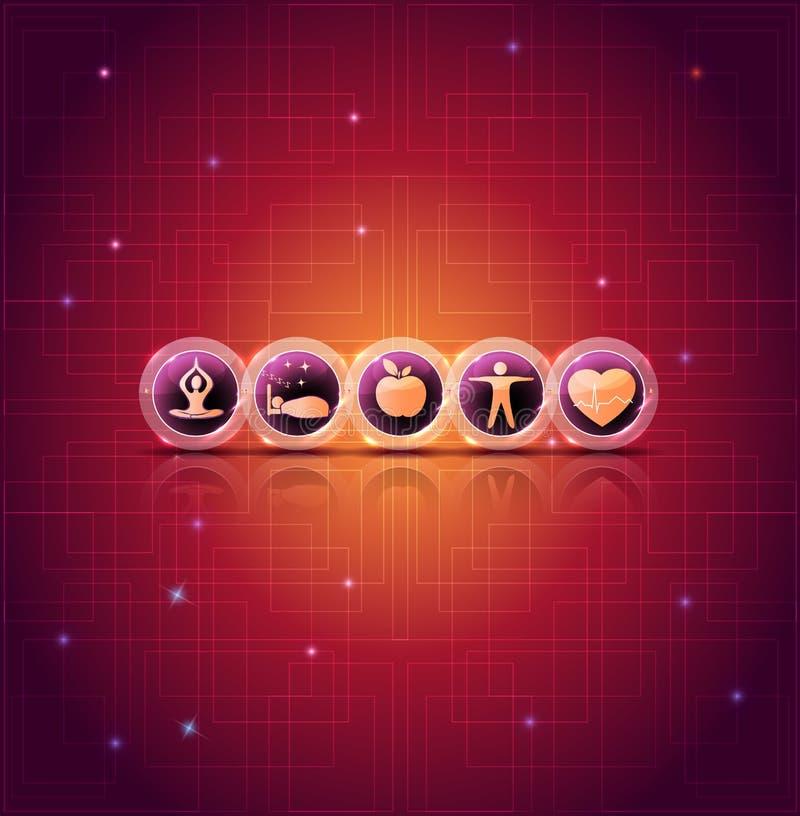 De gezonde levensstijl tipt heldere pictogrammen vector illustratie