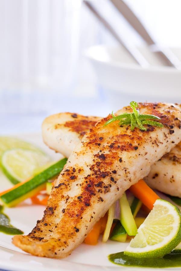 De gezonde maaltijd van vissenpangasius royalty-vrije stock afbeelding