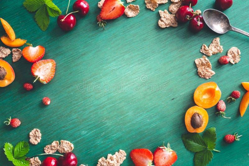 De gezonde Ontbijtvlakte Als achtergrond lag royalty-vrije stock foto