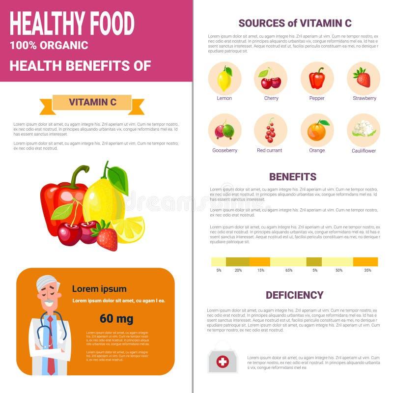 De gezonde Producten van Voedselinfographics met Vitaminen, de Levensstijlconcept van de Gezondheidsvoeding vector illustratie