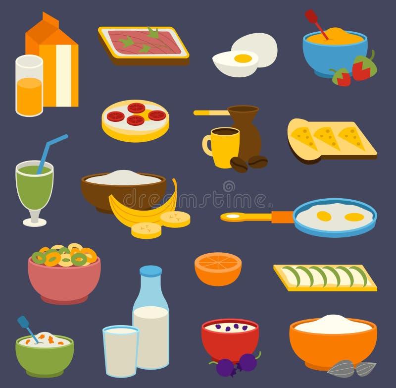De gezonde de proteïnenvetten van het voedingsontbijt, koolhydraten brachten het dagelijkse dieet van de sportochtend, culinair i royalty-vrije illustratie