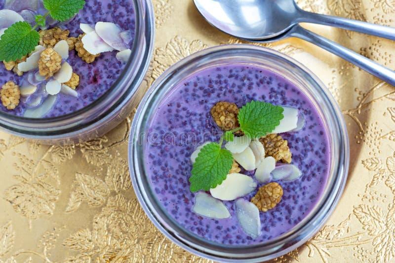De gezonde pudding van de bosbessenchia van het tendensvoedsel royalty-vrije stock foto's