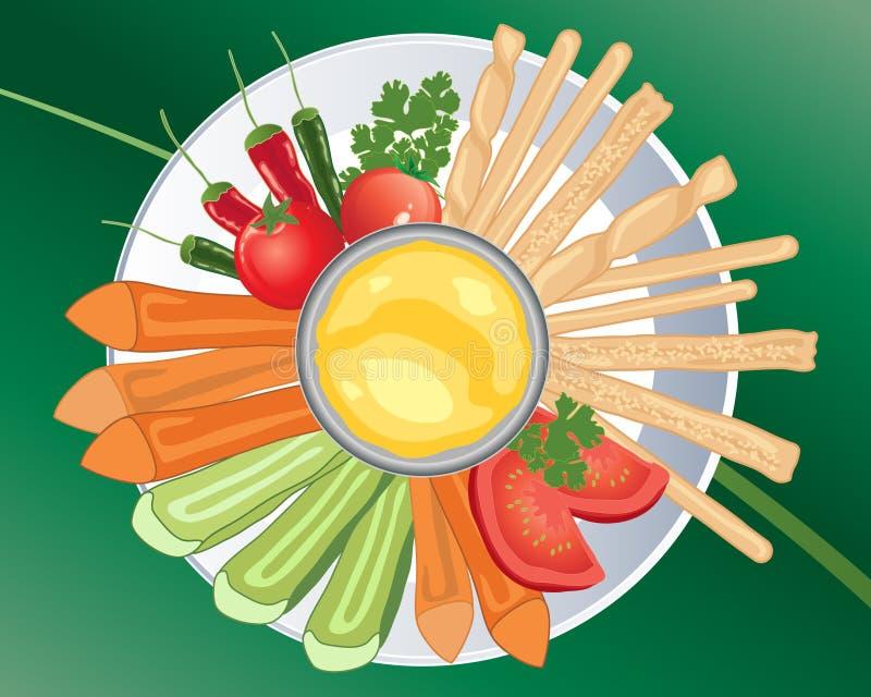 De gezonde snacks met wortel plakt selderietomaten en broodstokken met het onderdompelen van saus stock illustratie