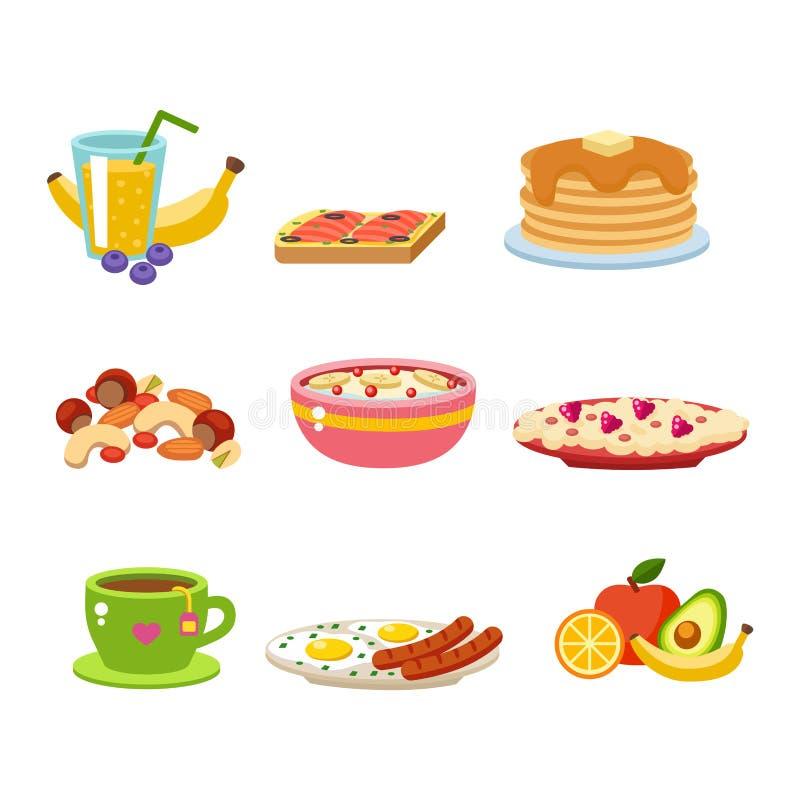 De gezonde vector van het ontbijtvoedsel stock illustratie