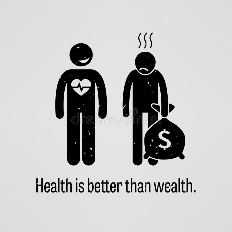 De gezondheid is Beter dan Rijkdom stock illustratie
