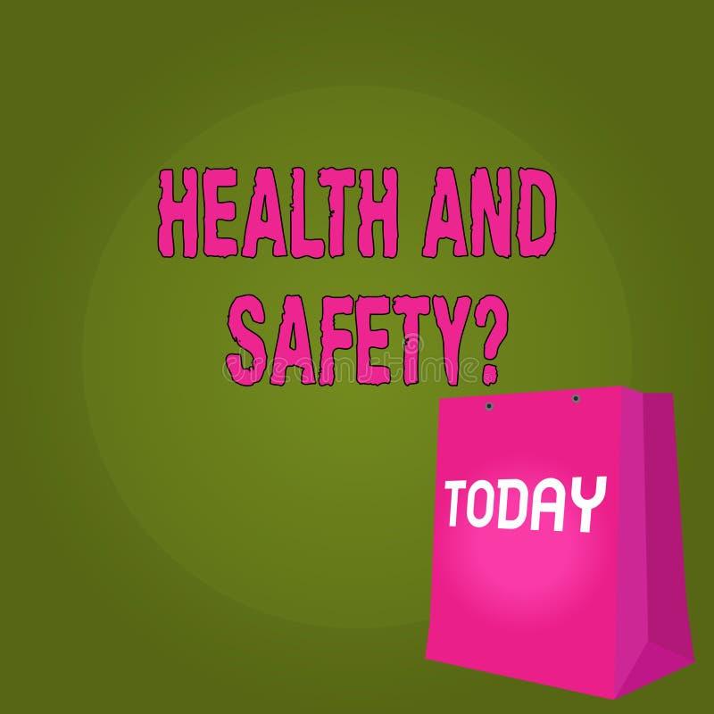 De Gezondheid en de Veiligheidsvraag van de handschrifttekst Concept die verordeningen en procedures betekenen om ongeval of verw vector illustratie