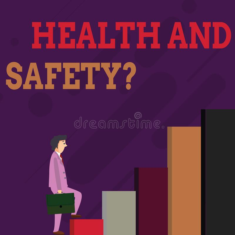 De Gezondheid en de Veiligheidsvraag van de handschrifttekst Concept die verordeningen en procedures betekenen om ongeval of verw royalty-vrije illustratie