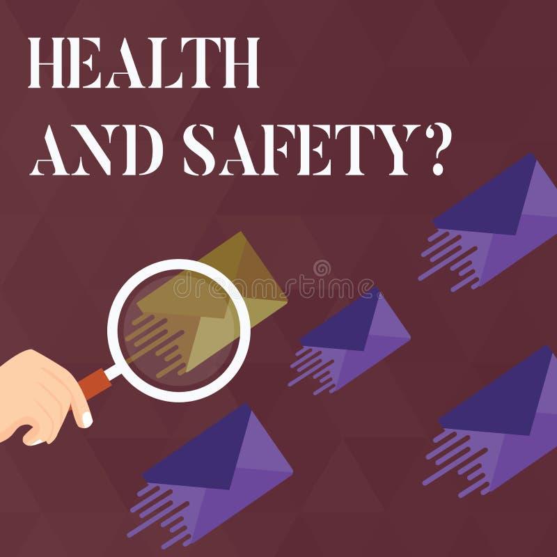 De Gezondheid en de Veiligheidsvraag van de handschrifttekst Concept die verordeningen en procedures betekenen om ongeval of verw stock illustratie