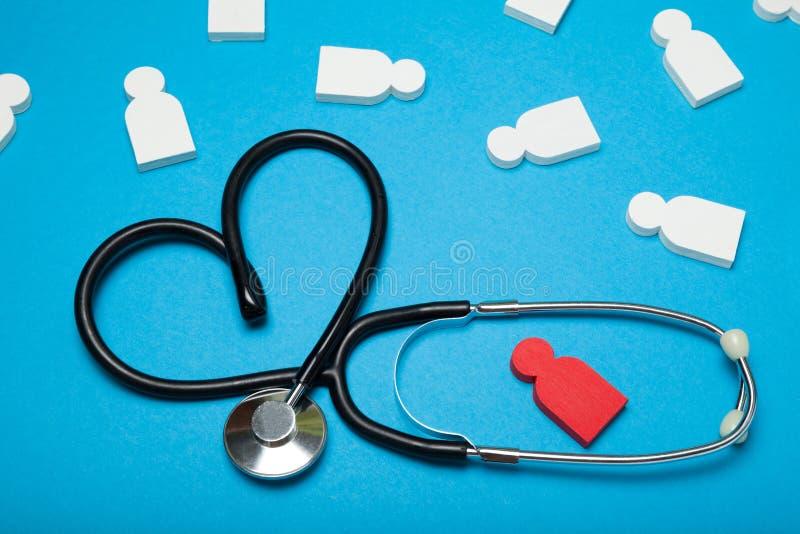 De gezondheid van het controlehart, hypertensieziekte Stethoscoop, cardiologie stock afbeelding