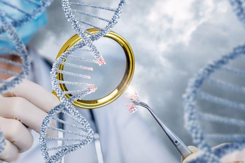 De gezondheidsarbeider bekijkt DNA door een vergrootglas royalty-vrije stock foto