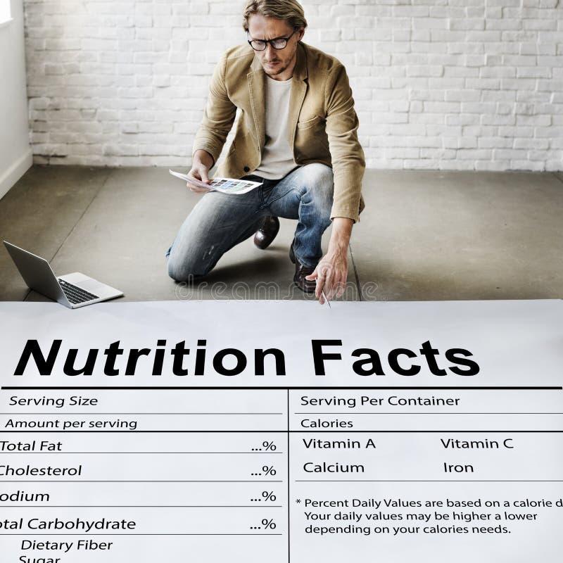 De Gezondheidsgeneeskunde die van voedingsfeiten het Concept van het Voedseldieet eten royalty-vrije stock afbeeldingen