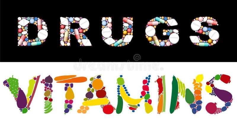 De Gezondheidsgeneeskunde van drugsvitaminen royalty-vrije illustratie