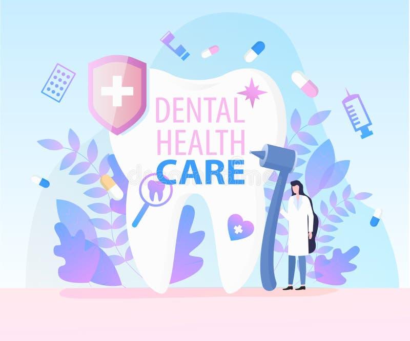 De Gezondheidszorg van Medical Equipment Dental van de vrouwentandarts vector illustratie