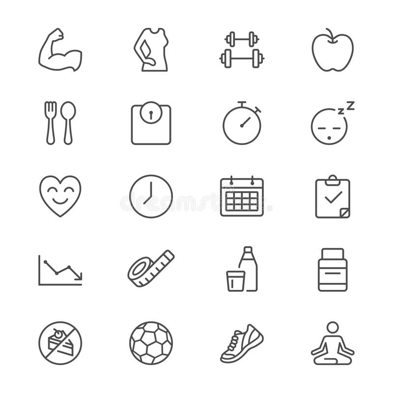 De gezondheidszorg verdunt pictogrammen royalty-vrije illustratie
