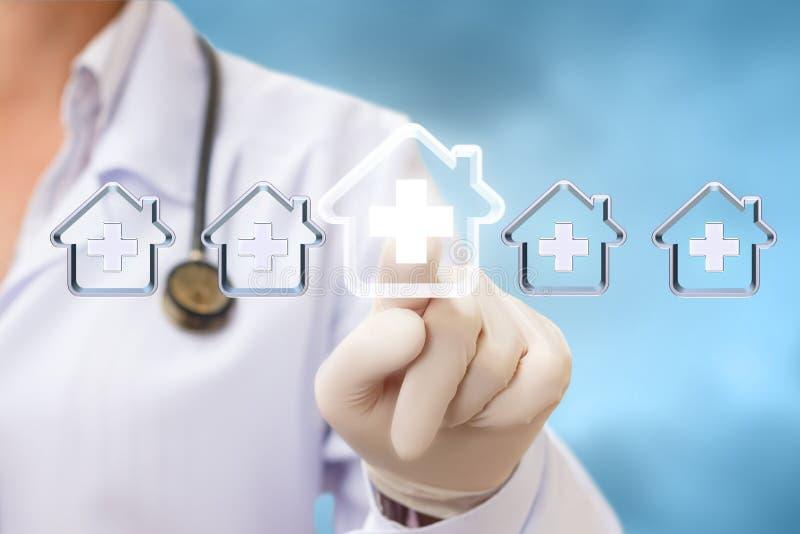 De gezondheidszorgleverancier selecteert het ziekenhuis stock afbeelding
