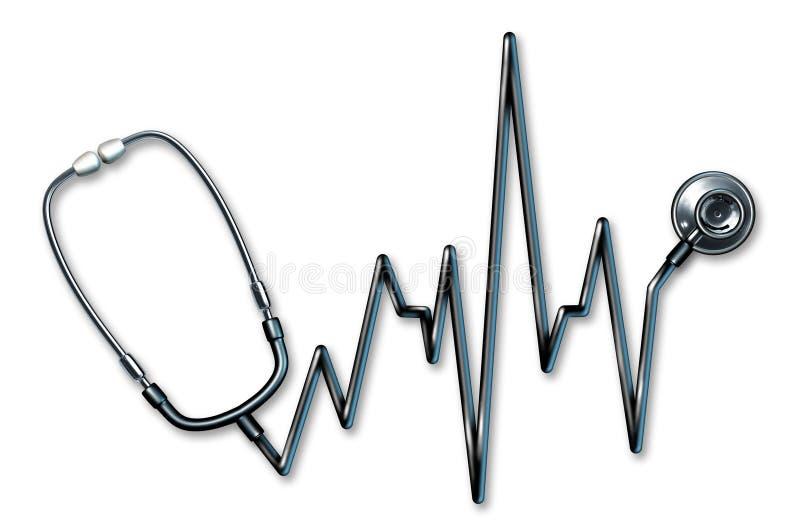 De gezondheidszorgsymbool van het electrocardiogram van de stethoscoop stock illustratie
