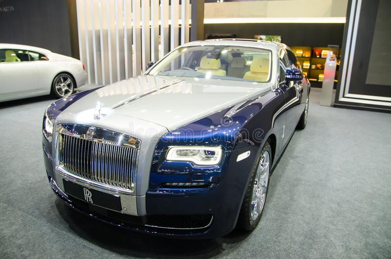 ` De Ghost do ` de Rolls Royce na cor da prata do jubileu no motorshow 2018 de Banguecoque imagem de stock royalty free