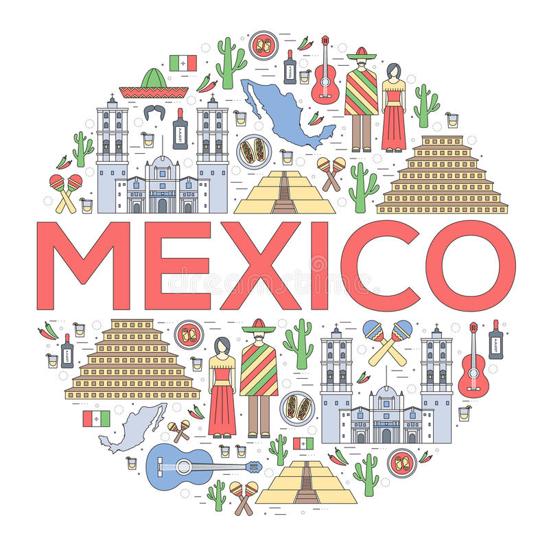 De gids van de de reisvakantie van Mexico van het land van goederen, plaatsen en eigenschappen Reeks van architectuur, voedsel, m vector illustratie