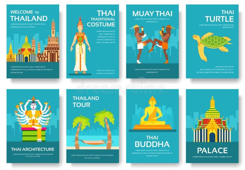 De gids van de de reisvakantie van Thailand van het land van goederen, plaatsen en eigenschappen Reeks van architectuur, manier,  stock illustratie
