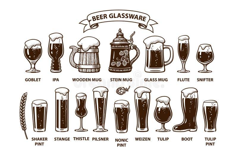 De gids van het bierglaswerk Diverse types van bierglazen en mokken Ontwerpelementen voor brouwersfestival, bar, bardecoratie vector illustratie