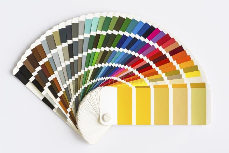 De gids van het kleurenpalet op witte achtergrond wordt geïsoleerd die De steekproef kleurt Catalogus royalty-vrije stock afbeelding