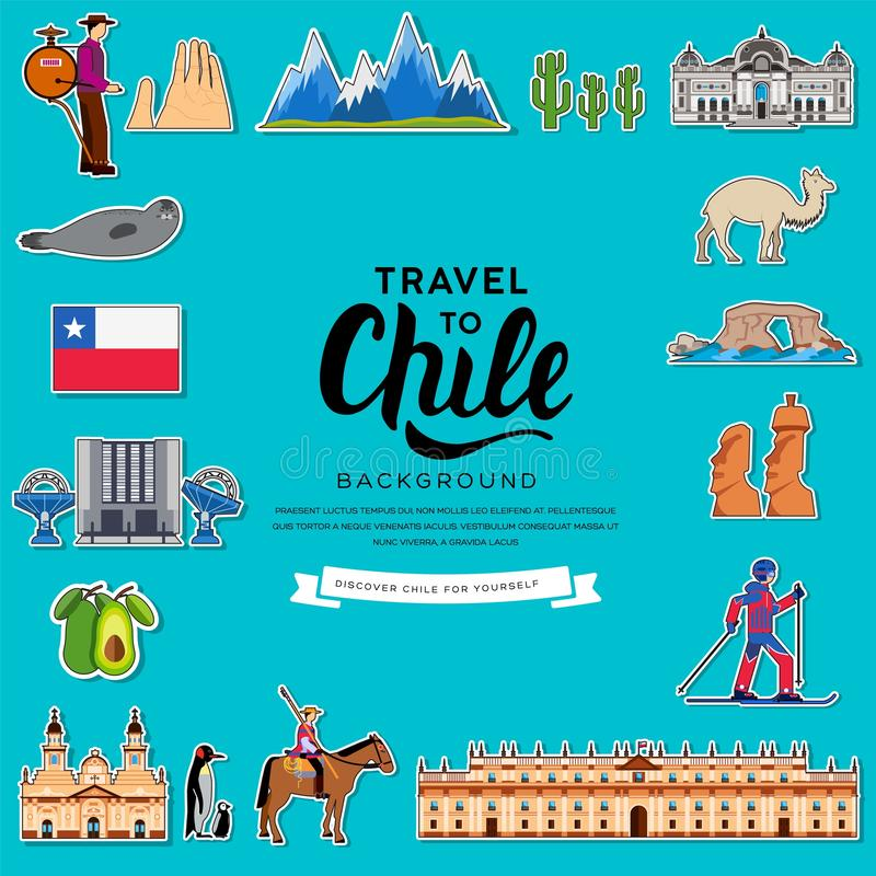 De gids van de de reisvakantie van Chili van het land van goederen, plaatsen en eigenschappen Reeks van architectuur, manier, men stock illustratie