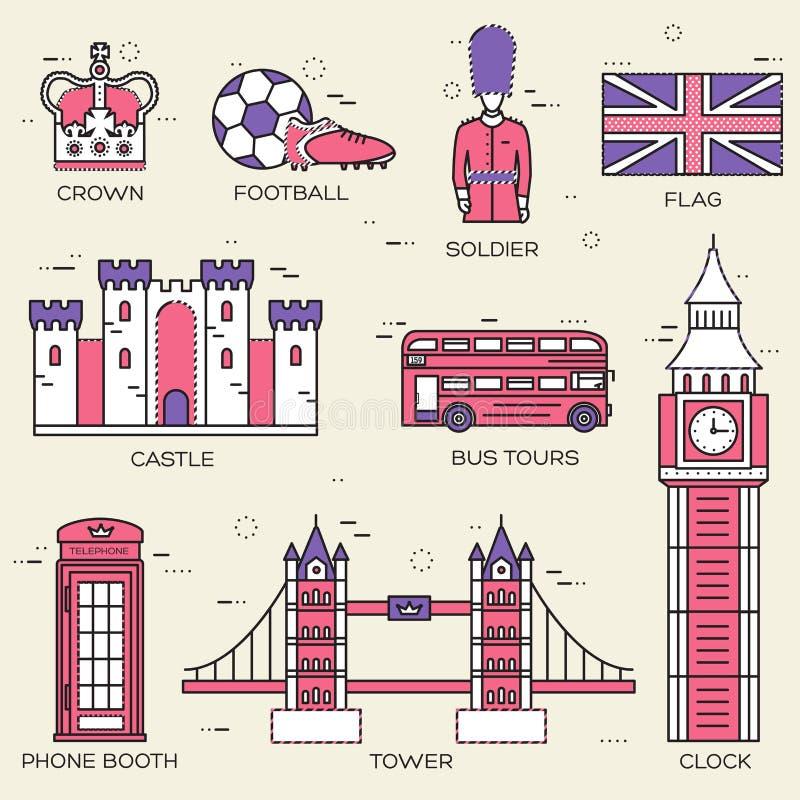 De gids van de de reisvakantie van Engeland van het land van goederen, plaatsen in het dunne ontwerp van de lijnenstijl Reeks van vector illustratie