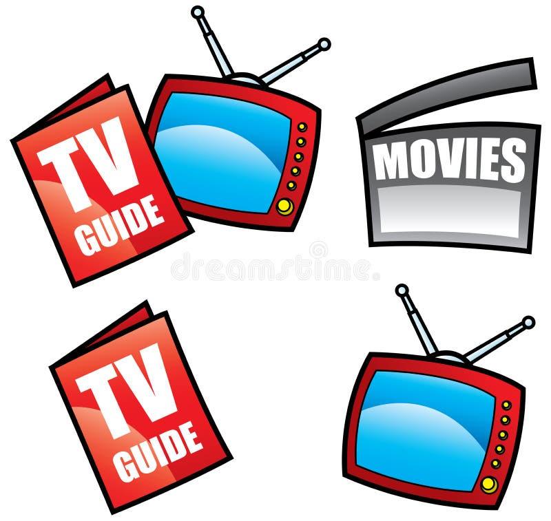 De gids van TV en media pictogrammen vector illustratie