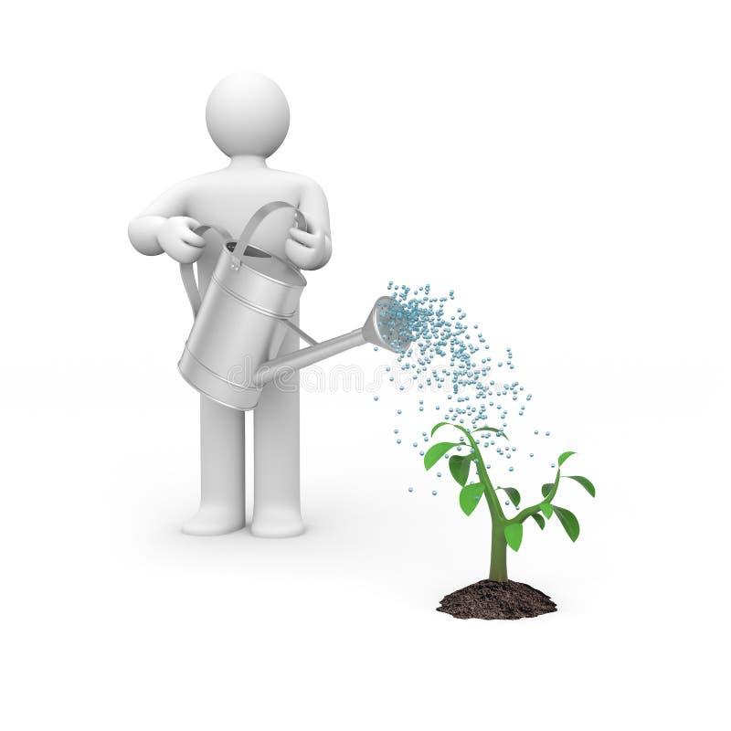 De gietende boom van de persoon