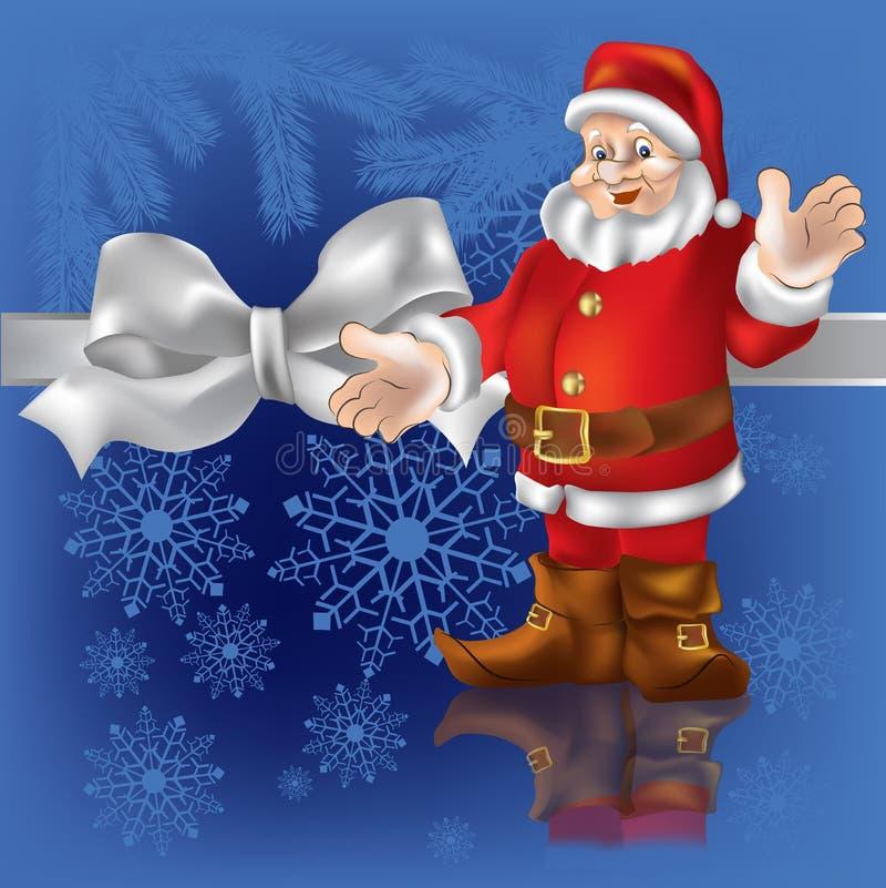 De gift de Kerstman van Kerstmis op een blauw stock illustratie