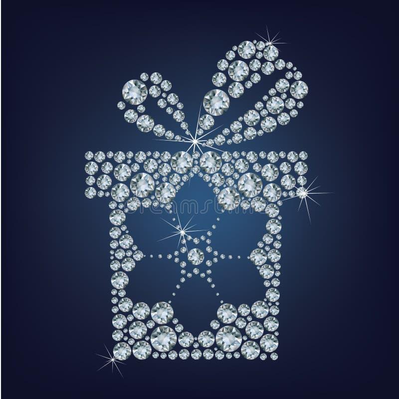 De gift huidig met sneeuwvlok maakte omhoog heel wat diamanten vector illustratie