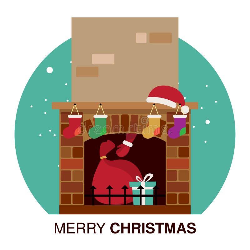 De Gift van kerstman` s Kerstmis in Open haard royalty-vrije stock afbeeldingen